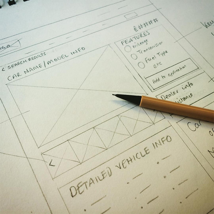 UI UX Design Sketches and Wireframes from Instagram finance website wireframe