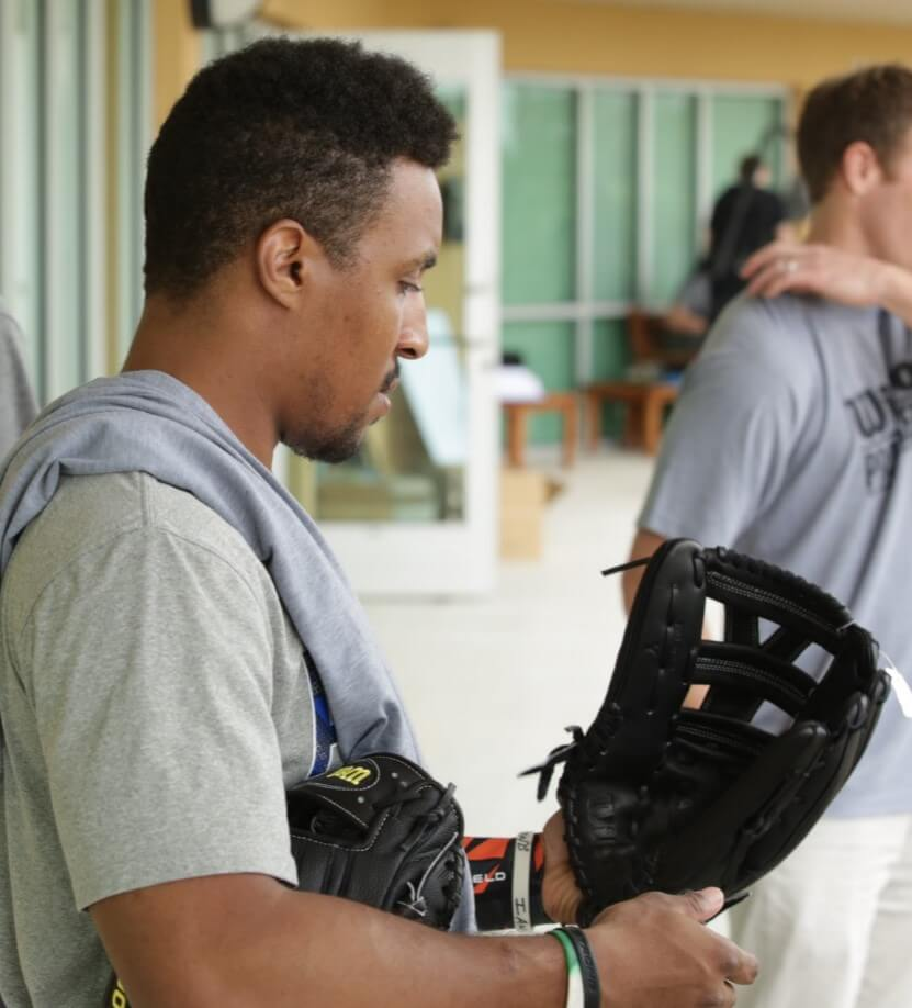 Tony Kemp Selecting a Wilson Glove 2