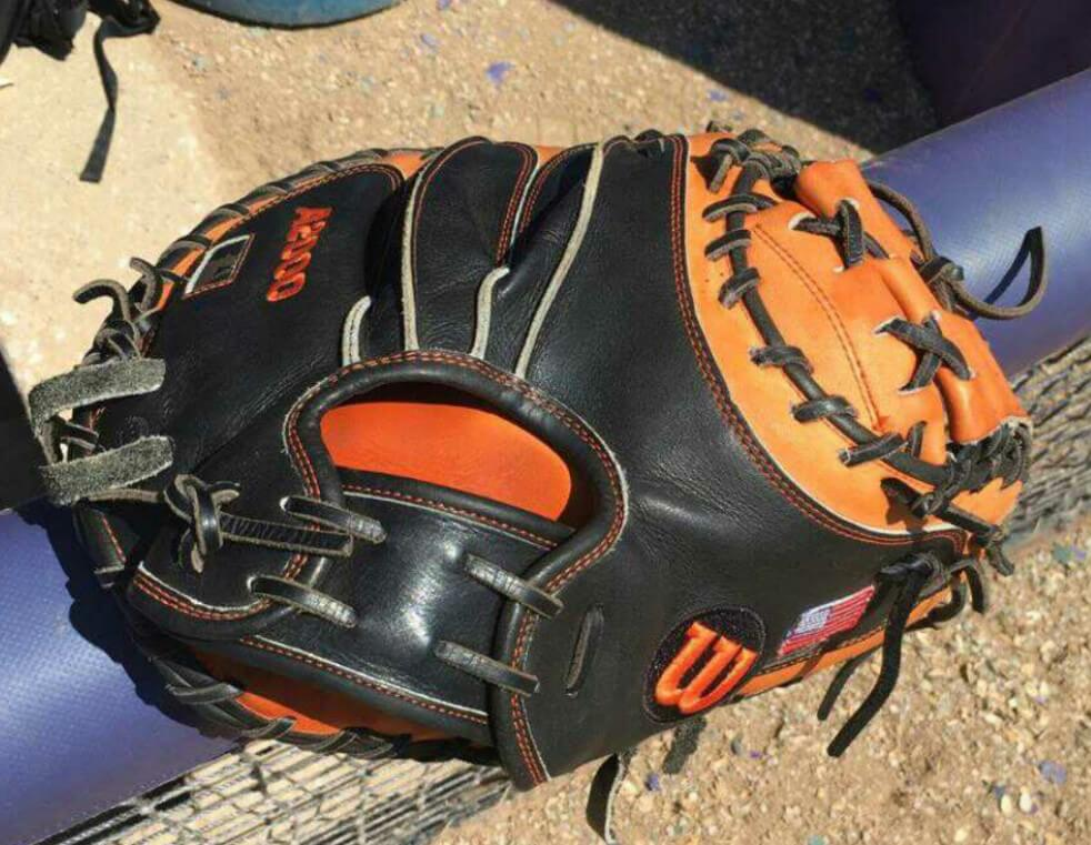 Collin Theroux Oklahoma State Wilson Catchers Mitt 2