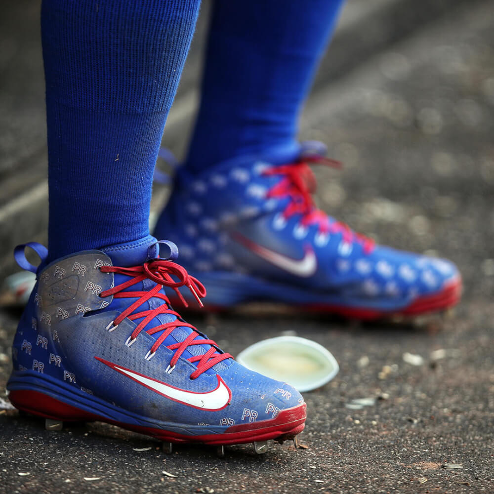 494341057ff0 Javy Baez's Puerto Rico pattern adds easy swag to his Nike Alpha Huarache  Elite PE cleats. Easy swag is a rare quality that Javy has become known for.