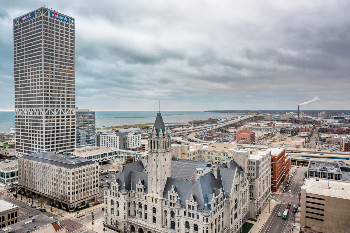 View from the Blu Milwaukee in the Pfister Hotel.