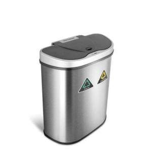 18.5-Gallon Automatic Motion Sensor Recycle Unit and Trash Can Combo, Stainless Steel