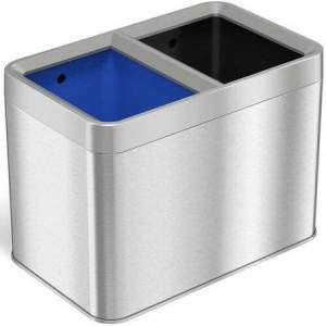 5.3 Gallon Dual-Compartment Trash & Recycling Bin Combo, Stainless Steel