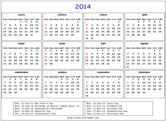 What is The National Calendar of United States?
