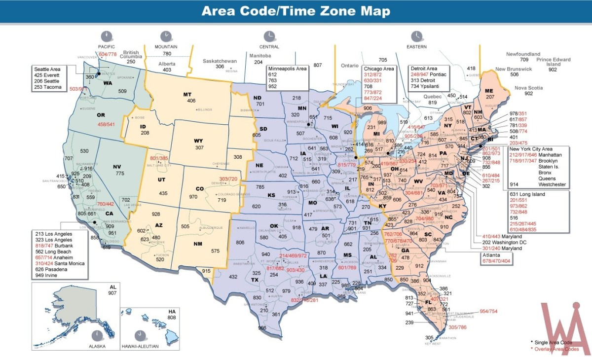 Area codes & time zones map of the USA | WhatsAnswer on