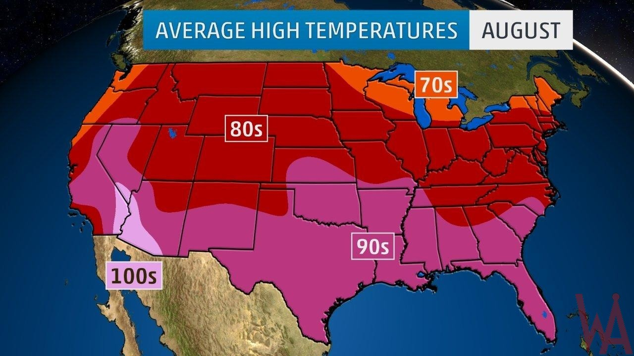 Average High Temperature of the US August