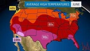 Average High Temperature of the US June
