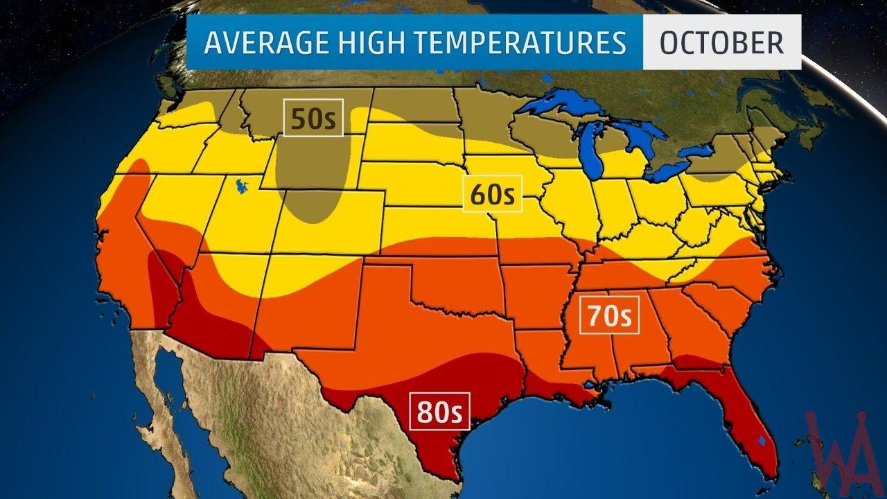 Average High Temperature of the US October