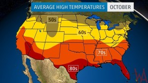 Average High Temperature Map of the US In October