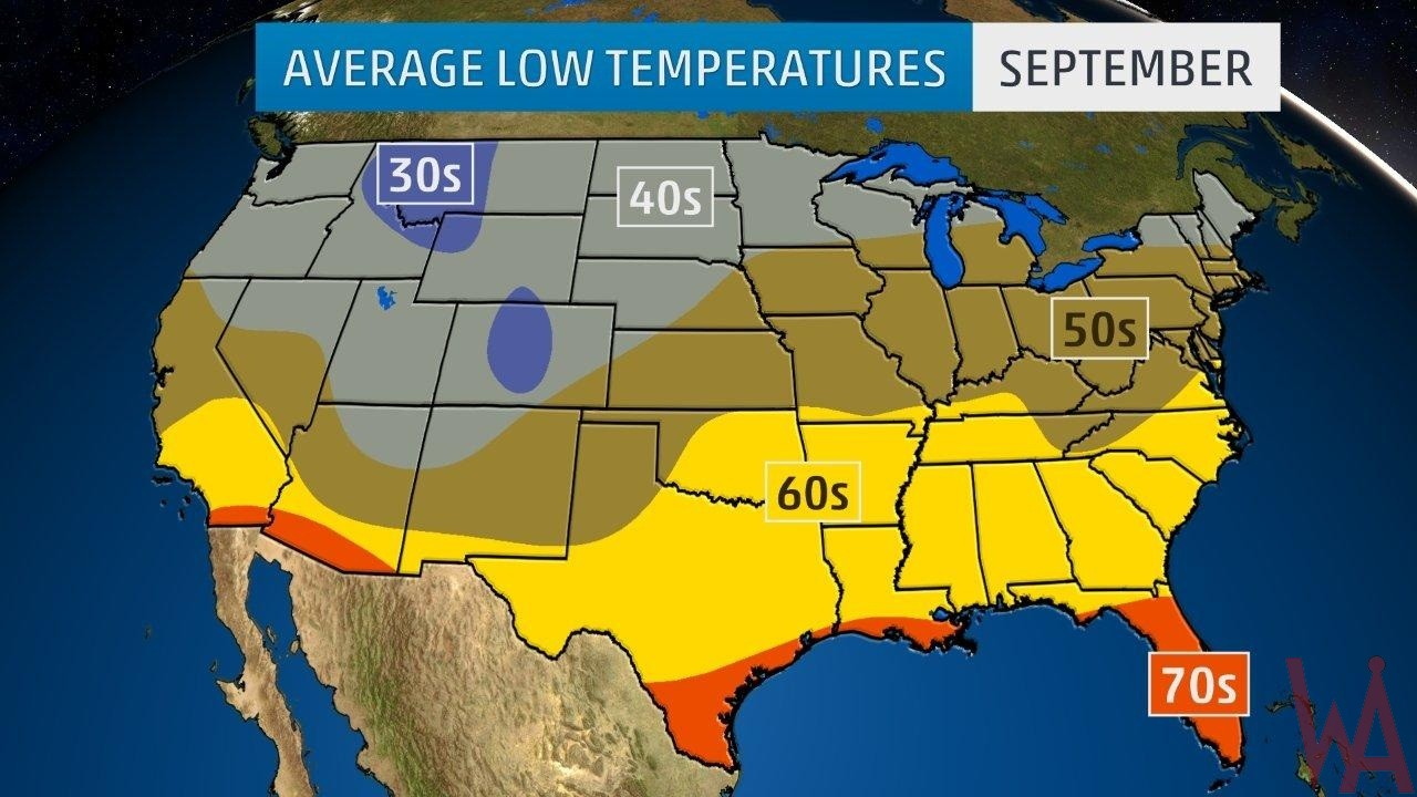 Average Low Temperature of the US September