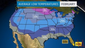 Average Low Temperature of the US February
