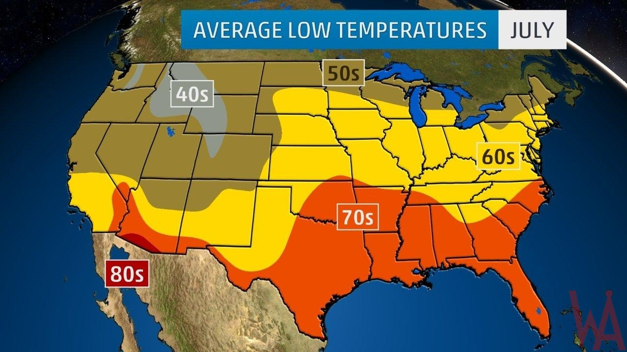 Average Low Temperature of the US July