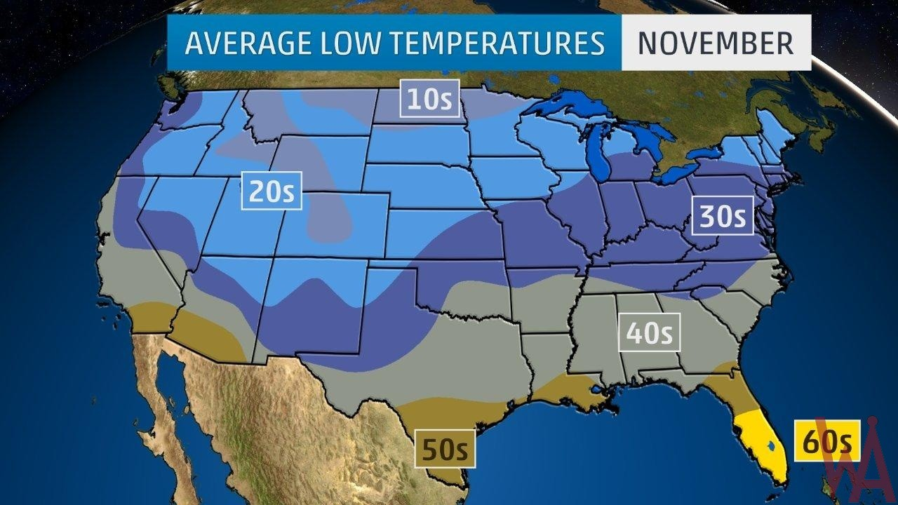 Average Low Temperature of the US November