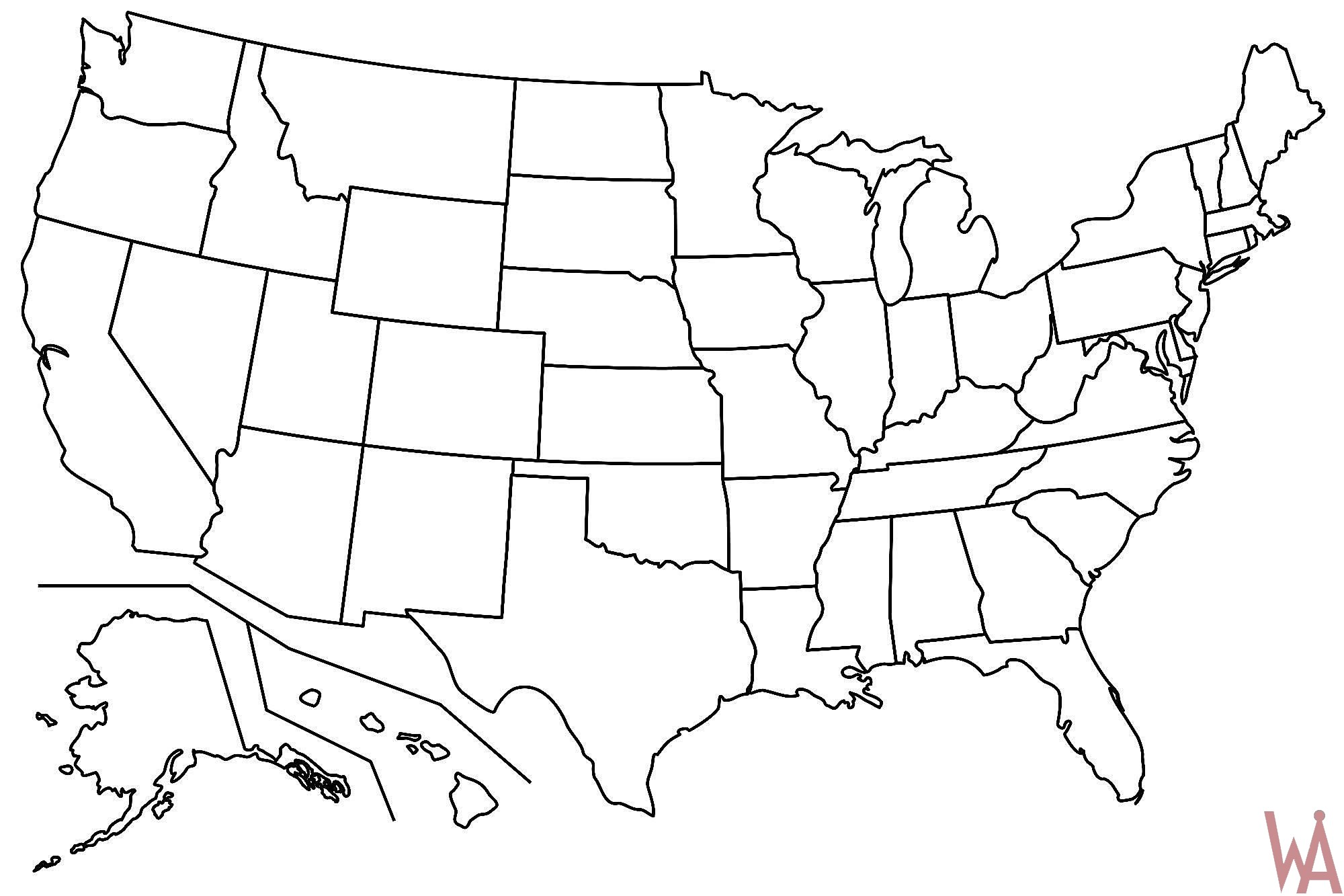 Blank Map Of the USA