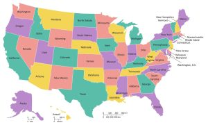 Colorful states map of the USA
