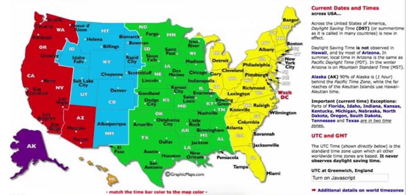 DST UTC GMT time zone map of the USA