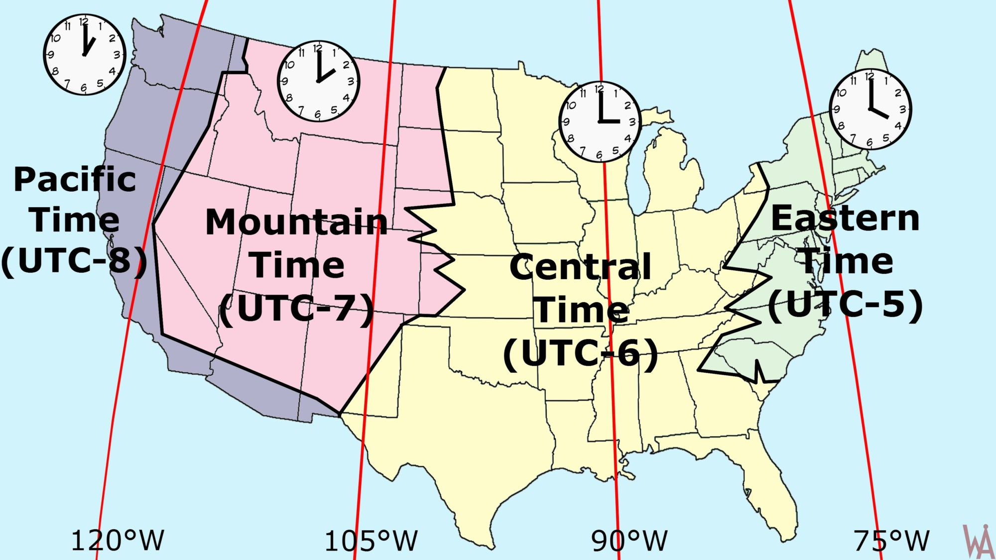 Most Popular Time Zone Map of the USA