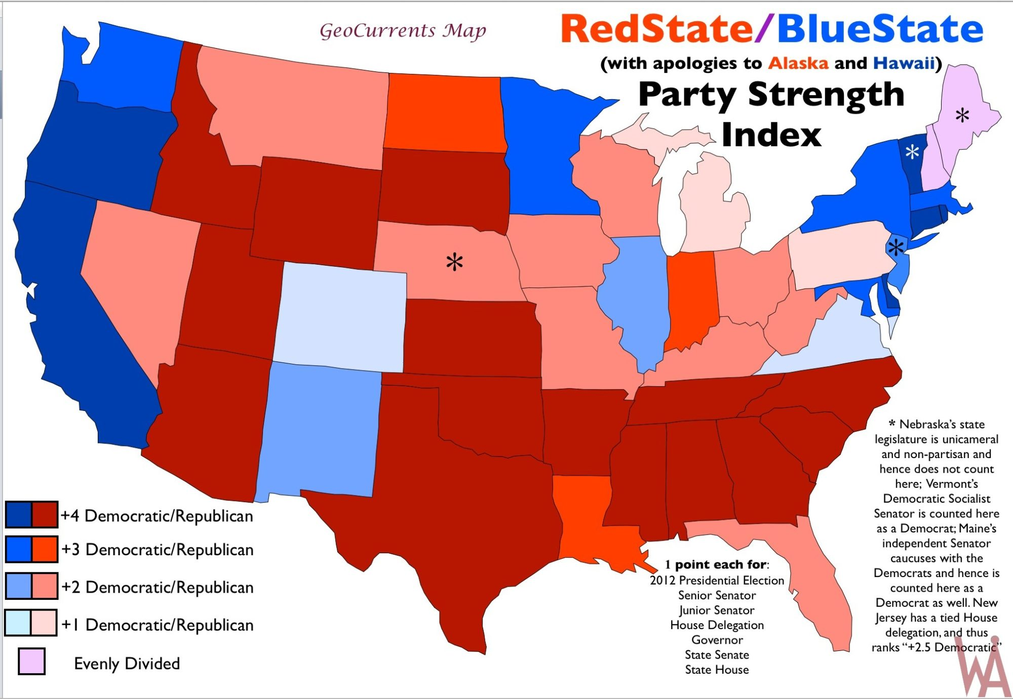Political Party Strength Index Map of the USA