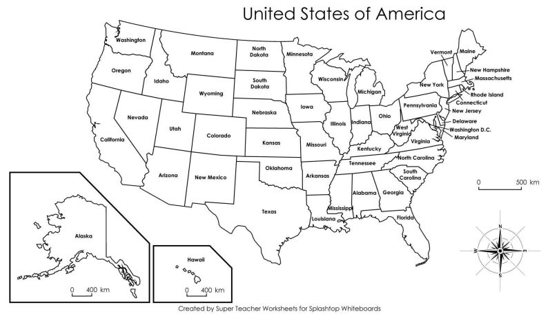 Printable Large Attractive Cities State Map Of The Usa Whatsanswer