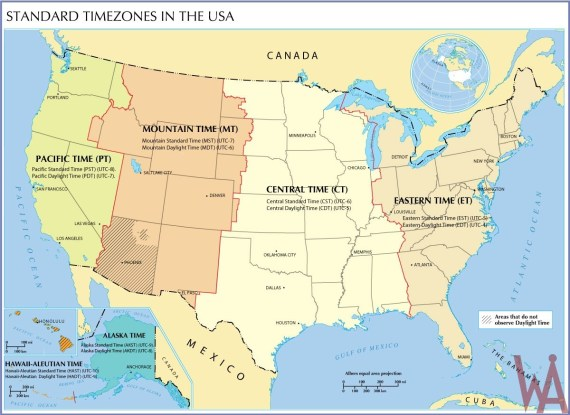 Standard time zone map of The USA | WhatsAnswer