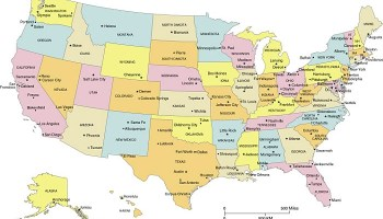 State Name Capital And cities Map of the USA | WhatsAnswer