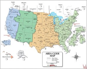 The Map of Time Zone & Area Code of the USA