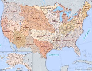 The River Map Of the  United States With 18 River Basin