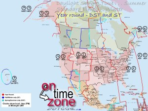 Time Zone Map of North America with day night savings maps