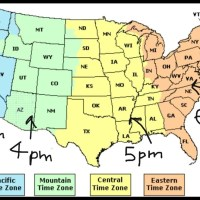 Time Zone Map of the USA with time different