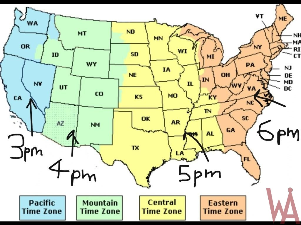 Time Zone Map Of The Usa With Time Different Whatsanswer