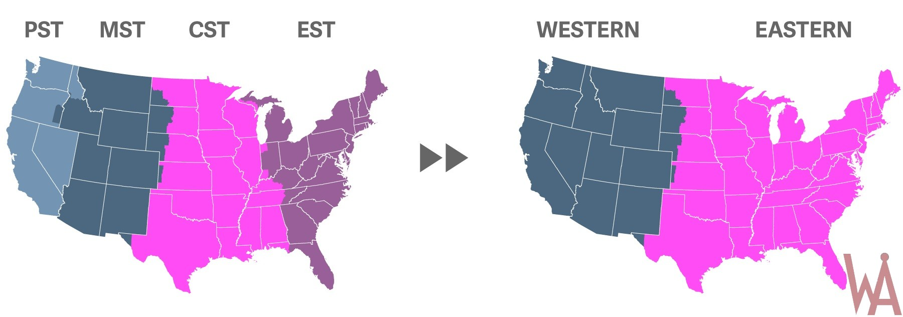 proposed time zones map of the USA