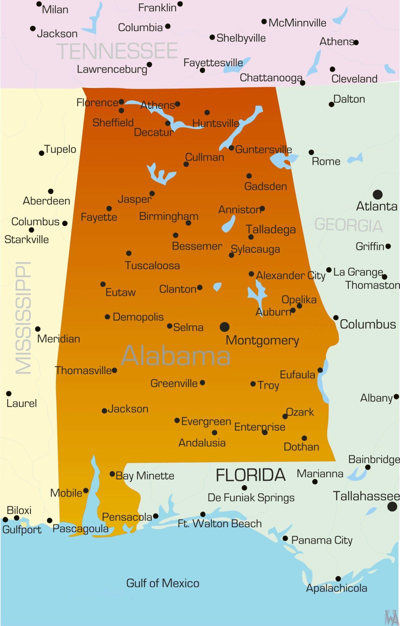 Alabama Detailed  Map |  Detailed  Map of Alabama