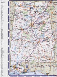 Alabama Large Political  Map |  Political  Map of Alabama With Capital , city and River lake
