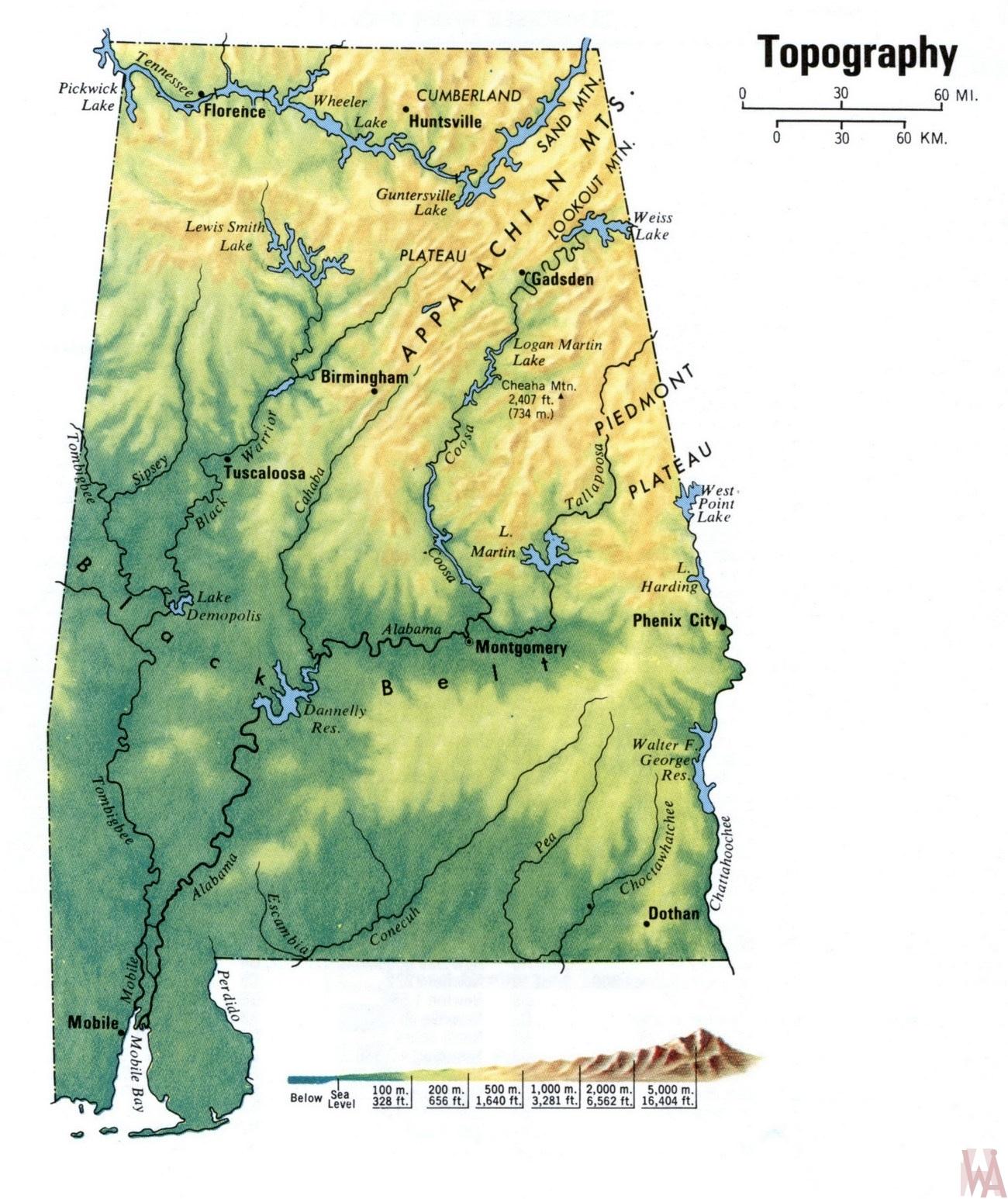 Alabama Topography  Map |  Topography  Map of Alabama