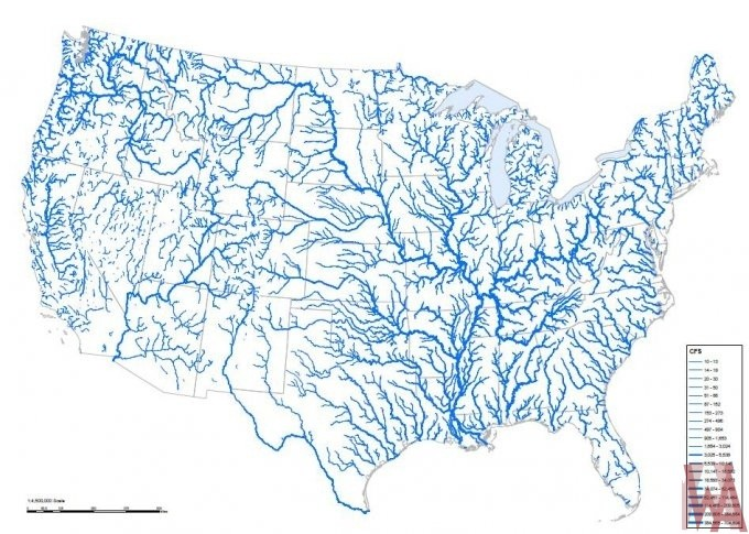 All Water Flows River Map of the USA