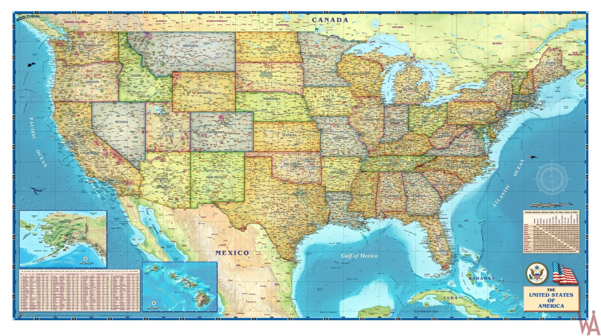 Attractive Large political map of the USA