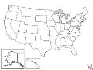 Blank Outline  Map 10 of the USA