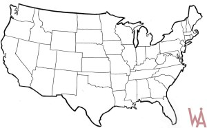 Blank Outline  Map 9 of the USA
