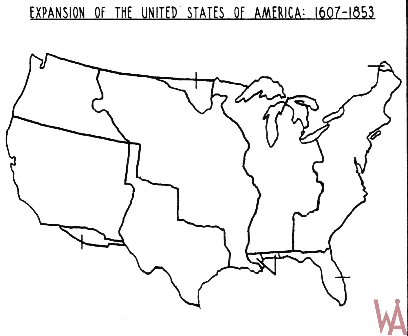 Blank Outline Map of the USA. Expansion 1607-1853