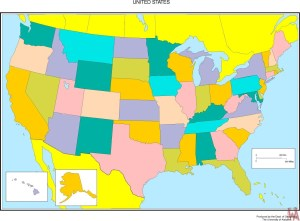 Blank color outline map of the United States. 1