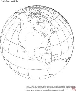 Blank outline globe map of North America