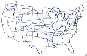 Blank outline map of the USA with major  rivers 5