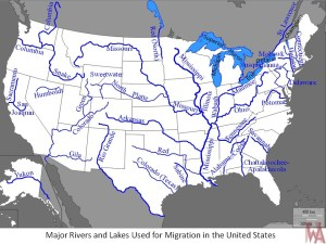 Blank outline map of the USA with major 34 rivers