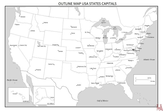 Blank outline map of the United States 15 | WhatsAnswer
