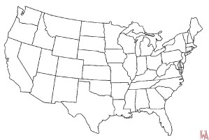 Blank outline map of the United States 18