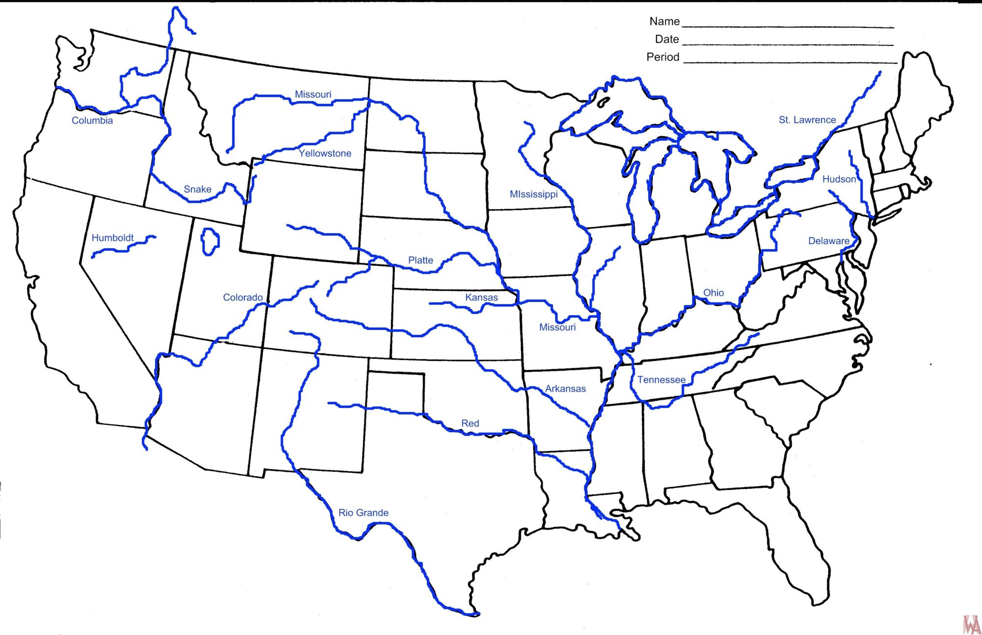Blank Outline Map Of The United States With Rivers Whatsanswer - Map-us-rivers