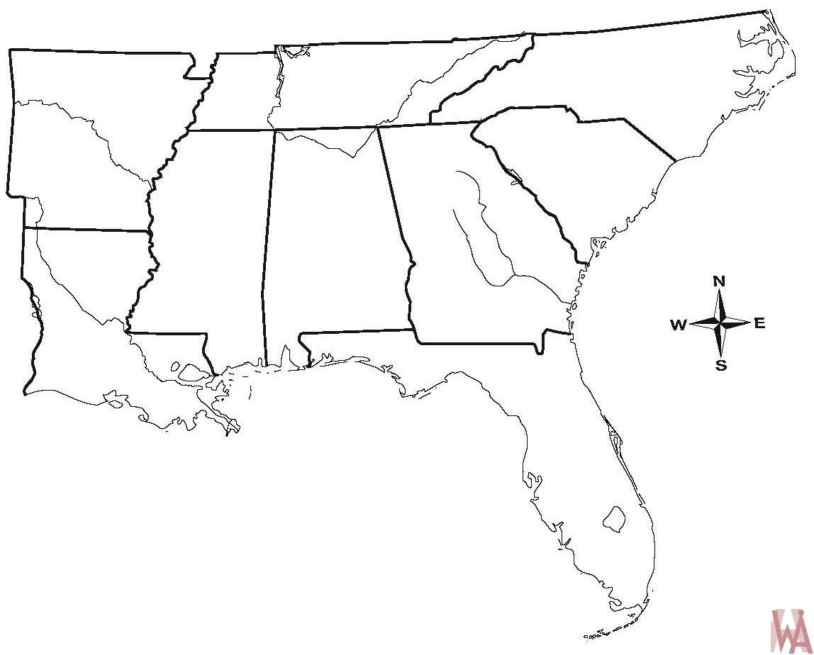 Blank outline map of the Us South Region | WhatsAnswer