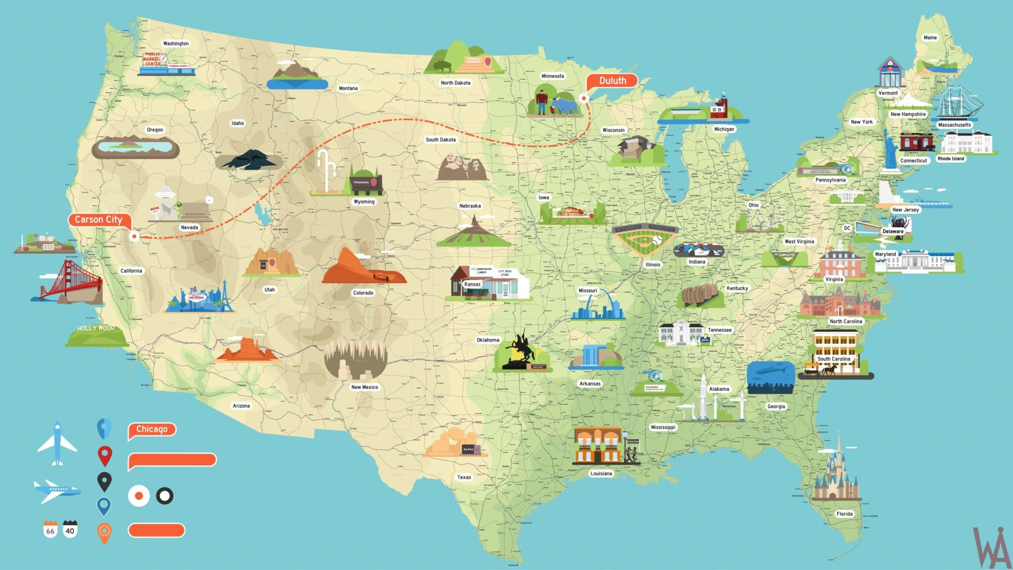 High Quality Tourist attraction map of the USA | WhatsAnswer