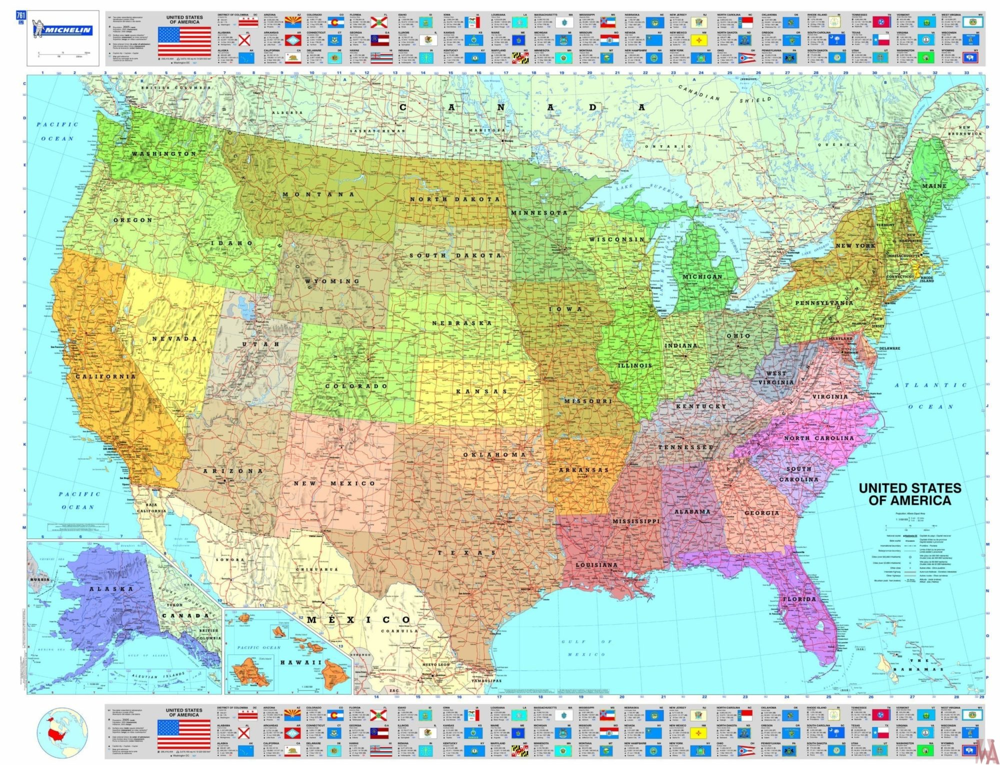 Large Political map of USA