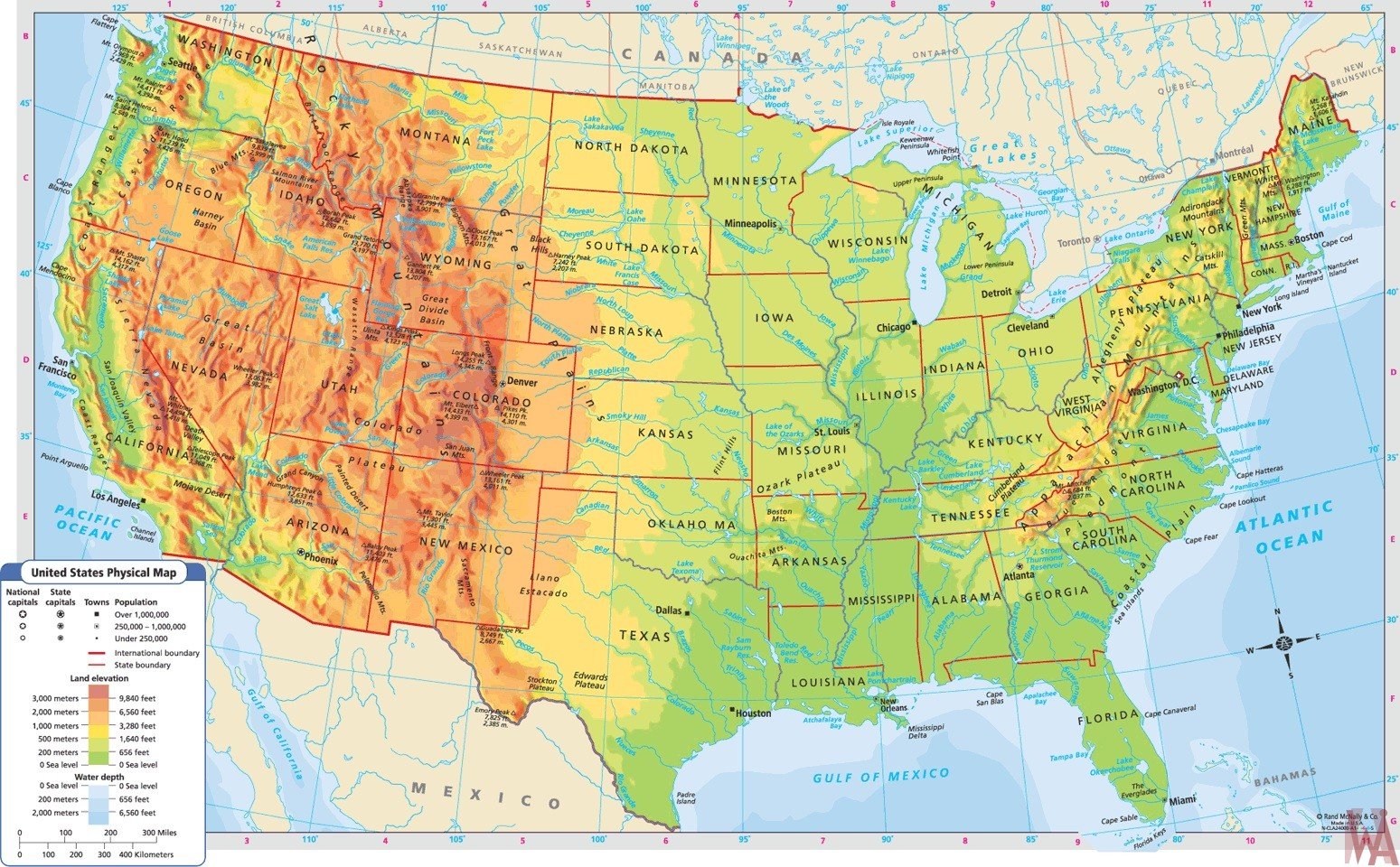 Geographical Map Of Usa Large Political,physical, geographical map of USA 2 | WhatsAnswer